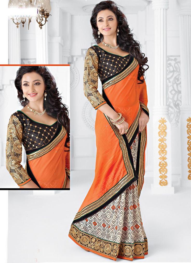 Orange and off white printed half n half saree