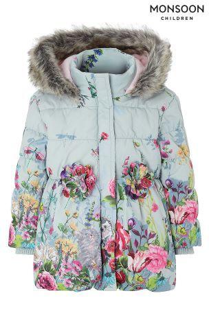 de4415dd4 Monsoon Baby Libby Border Print Padded Coat