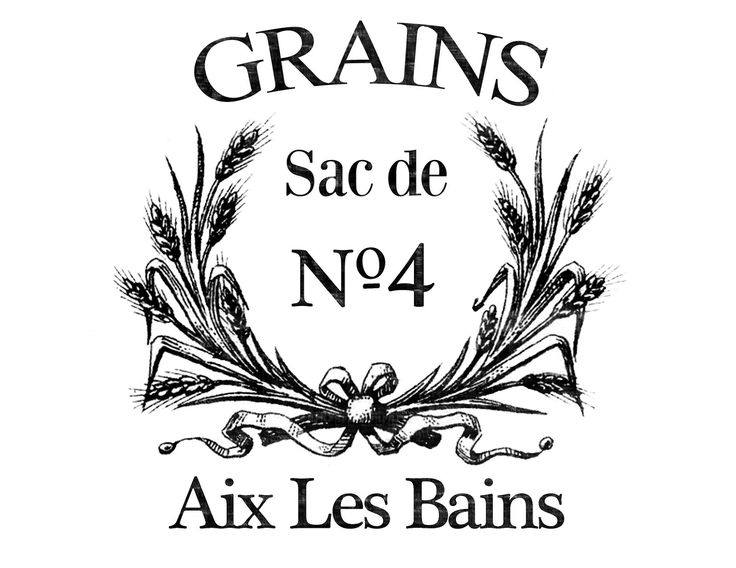 Transfer Printable - French Grain Sack with Wheat Wreath - The Graphics Fairy