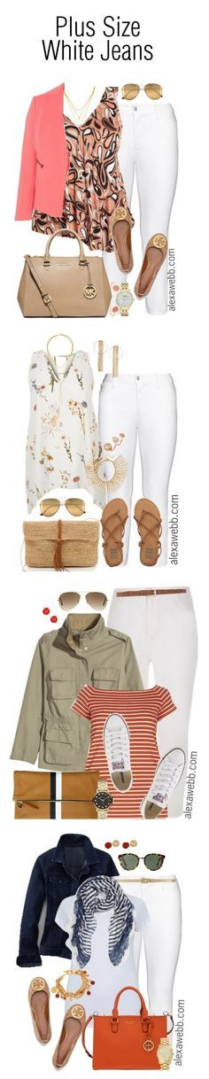 Plus Size Outfit Ideas – White Jeans {4 Ways