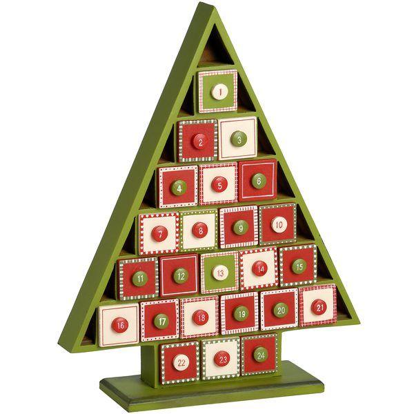 Wooden Advent Calendar Tree Christmas Decorations