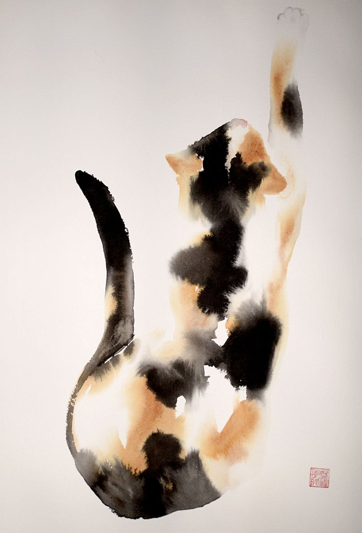 Beautiful calico cat - original ink and watercolor mixed technique by bodorka on Etsy