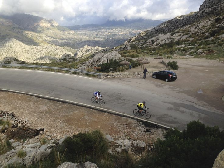 Mountain road in Mallorca. Cycling in Mallorca.