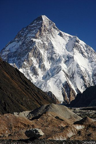 K2 - a 8611m high pyramid. Seen from Concordia, the intersection between the Baltoro and Godwin-Austen glacier.