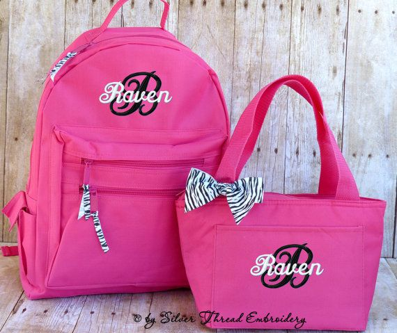 Personalized Backpack Lunch Bag Zebra Leopard Bow Monogrammed School lunch bag.