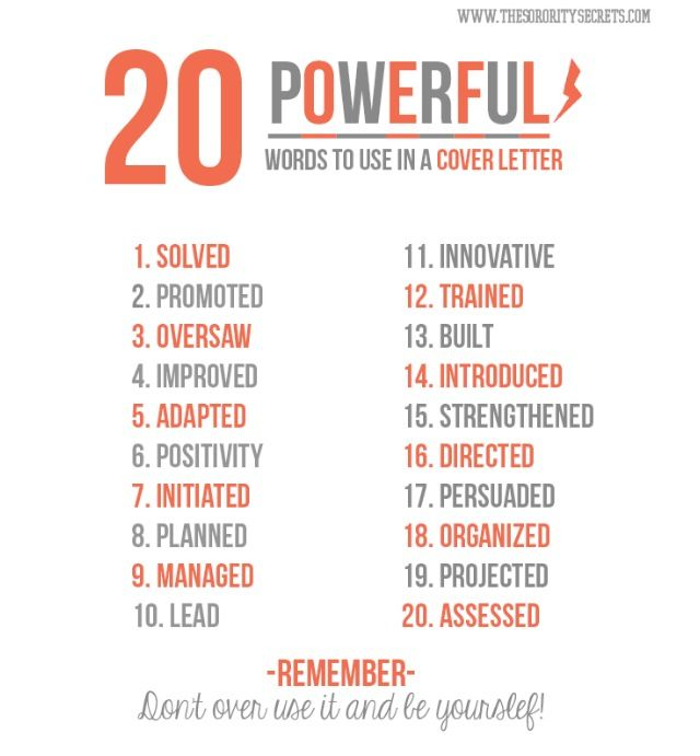 20 powerful words to use in a cover letter
