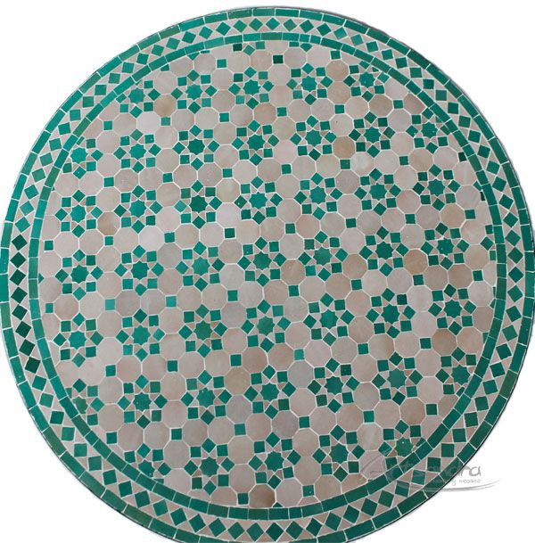 Mesa árabe de mosaico elaborada  artesanalmente