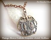 Vintage Bronze Catholic Scapular Medal Necklace