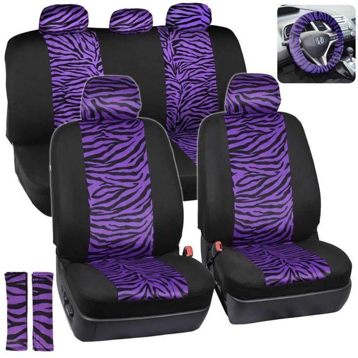 Velvet Animal Car Seat Covers Purple Zebra Accent On Black W Steering Wheel Cover