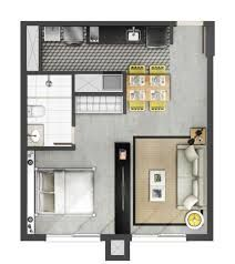 Modern layout, small apartment
