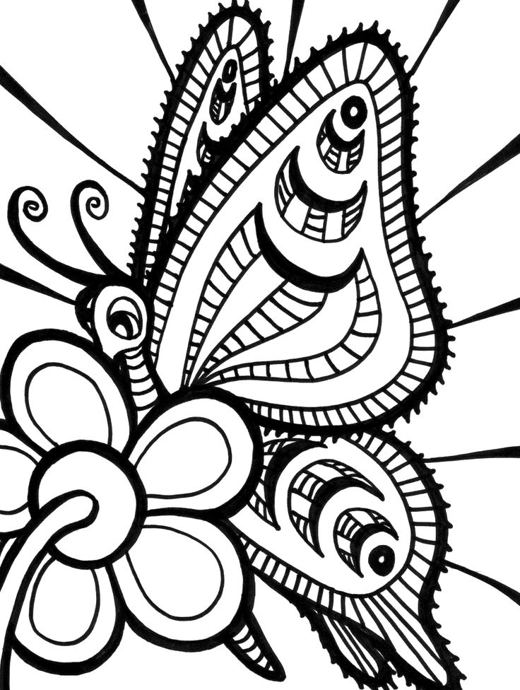 94 Printable Coloring Pages Flowers And Butterflies