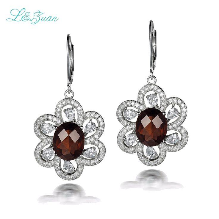 l&zuan S925 Silver Woman drop earrings Trendy 6.68ct Smoky Quartz natrual brown Gemstones flower Fine jewelry //Price: $US $24.52 & FREE Shipping //     #hashtag1