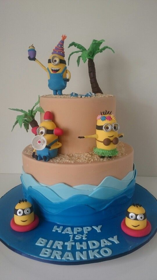 Minion beach party birthday cake  Cake Central Sydney  www.cakecentral.com.au