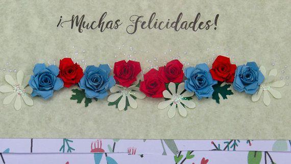 Sobre monedero floral rosas celeste con rojo Regalo de robre