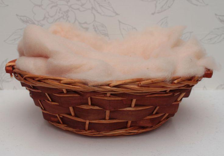 Peach Basket Stuffer, Merino Wool Basket Liner, Peach Wool Fluff, Newborn Photo Prop, Photography Accessory, Peach Wool Photo Prop - pinned by pin4etsy.com