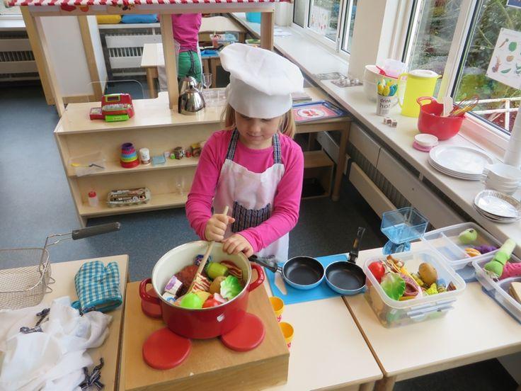 Maak een keuken en een ruimte met tafel waar de gasten kunnen eten. Leg in de keuken allerlei kopjes, glazen, borden bestek en kookgerei. Echte kokskleren , een gasfornuis, een oven en een kassa mogen niet ontbreken. Ook met een frituurmandje hebben de kinderen veel plezier. De kinderen kunnen zelf allerlei plastic etenswaar meenemen. Ook kun je gebruik maken van het etenswaar hieronder, dat uitgeprint kan worden.