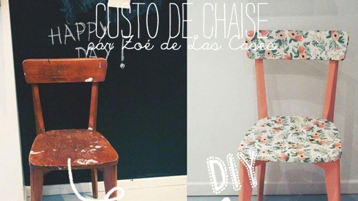 chaise customisée papier peint fleuri