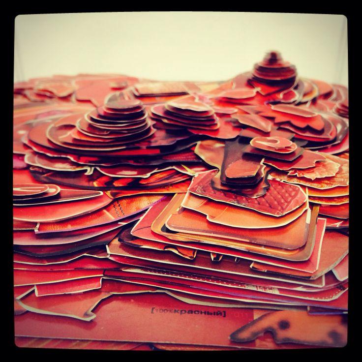 """Hills"". Paper, plastic. 23,5 x 24 x 24 cm. 2014"