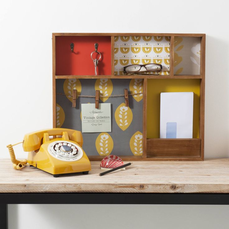 Bacheca portachiavi in legno 43 x 51 cm VINTAGE | Maisons du Monde