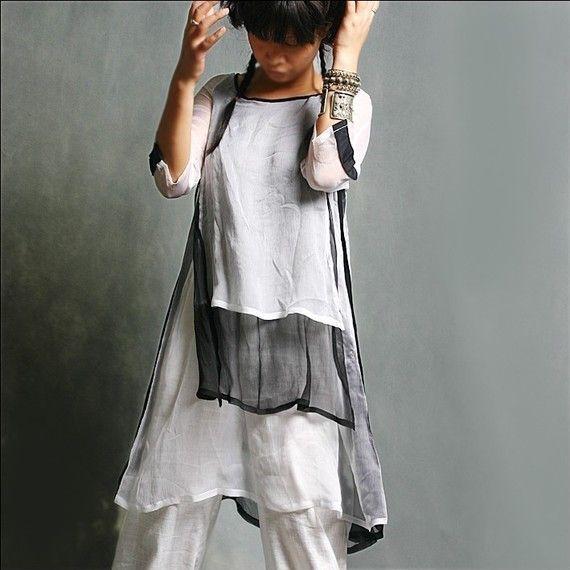 white/black silk top