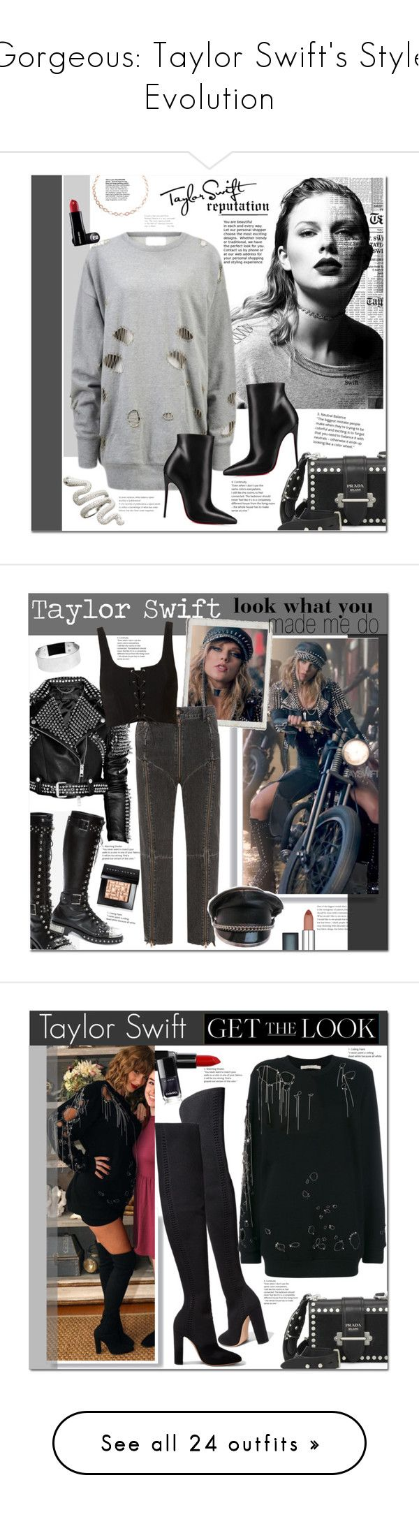 """""""Gorgeous: Taylor Swift's Style Evolution"""" by polyvore-editorial ❤ liked on Polyvore featuring taylorswift, reputation, Prada, Christian Louboutin, Luv Aj, GetTheLook, Burberry, Levi's, Jenny Bird and Maybelline"""