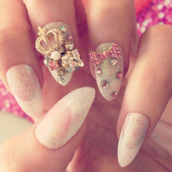 3D stiletto nails! Rhinestones crown white! Gorgeous nails ...