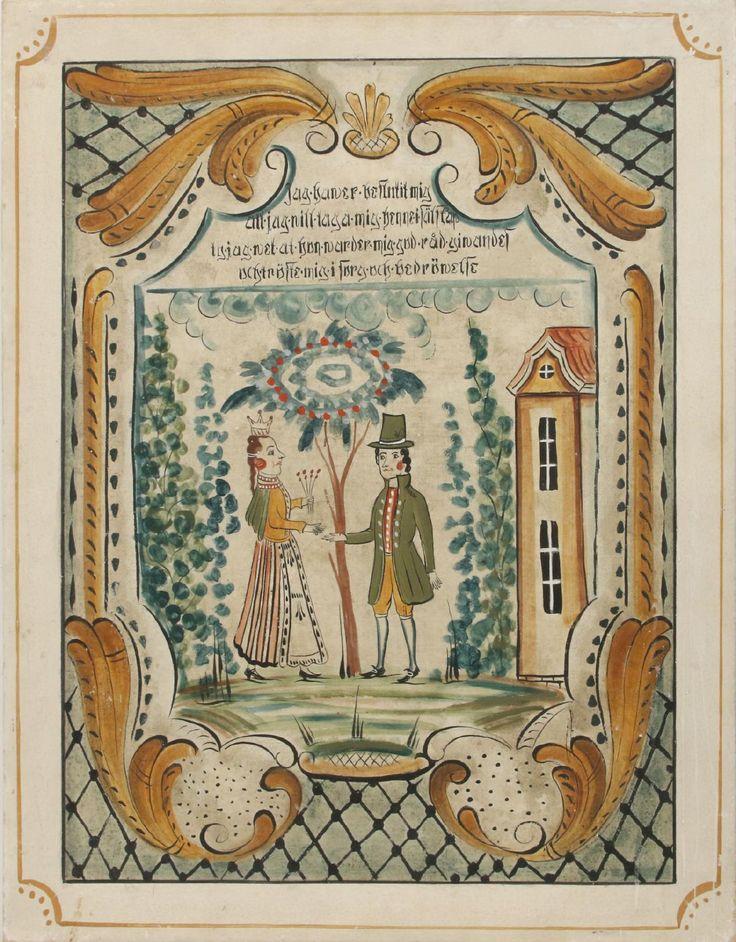 Bengt Engman, tillskriven Dalmålning på väv, figurscen. Osignerad. (120x94). 1 200:-
