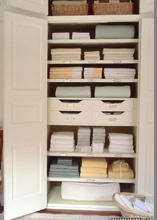 Love The Built In Drawers Baskets On Top Shelf And Perfect Stacks This Linen Closet OrganizationOrganized
