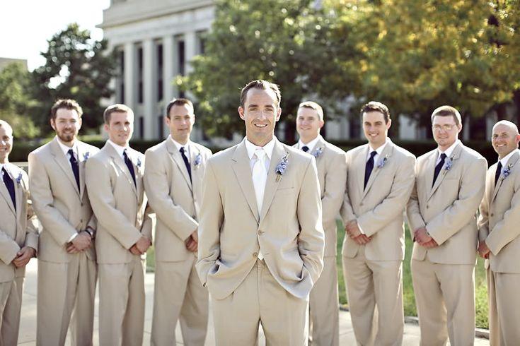 Tan groomsmen suits--sure did look nice at Ryan & Alyson's wedding.