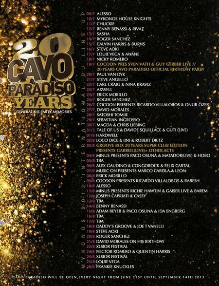 Cavo Paradiso line-up 2013