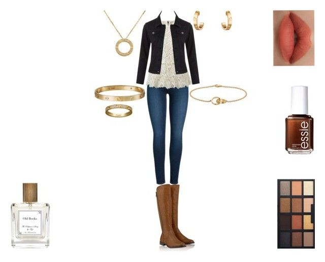 """Old Books"" by rascaldiva on Polyvore featuring Cartier, Pieces, Timeless, CAbi, LE3NO, Essie and The Perfumer's Story by Azzi"