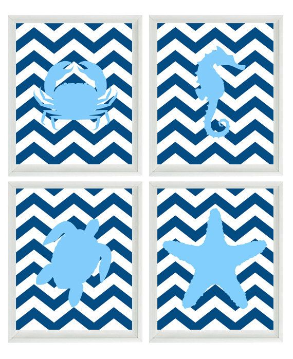 Beach Nautical Nursery Chevron Art Print Set - Navy Blue Light Blue Decor - Sea Creature Ocean - Wall Art Home Decor Set 4 8x10. $50.00, via Etsy.