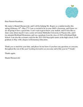 student teacher parent introduction letter