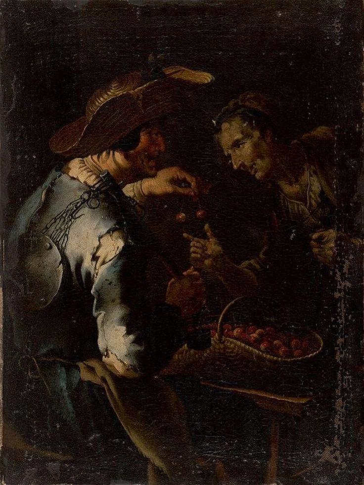 GIACOMO FRANCESCO CIPPER - TODESCHINI <br> Feldkirch1664 - Milano1736 <br> Cherries seller <br> Oil on canvas cm 59 x 44