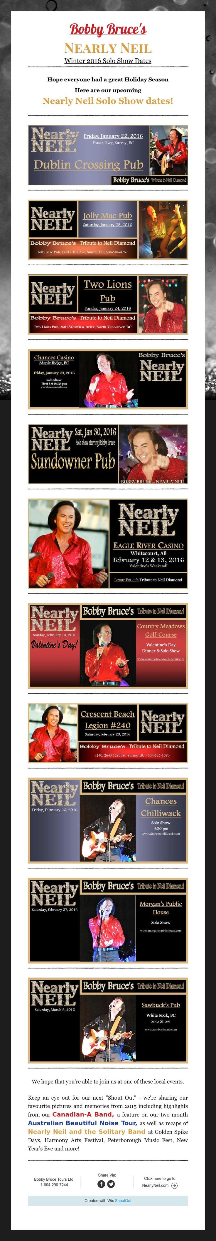 Bobby Bruce's  Nearly Neil  Winter 2016 Solo Show Dates