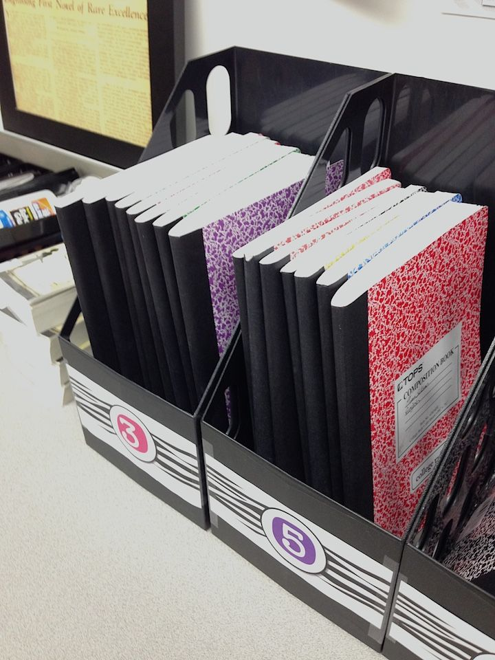 Interactive notebooks - how to store in your classroom. Magazine bins hold about 10-15 books each.