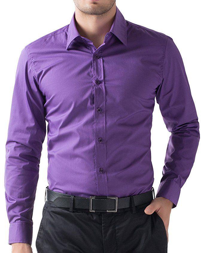 PAUL JONES Men's Fitted Dress Shirt Purple Button up Shirts