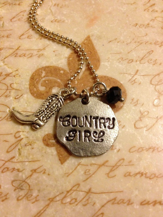 I know a young lady who would love this in TX!!!   Country Girl Hand Stamped Charm Necklace by DuneyBugDesigns, $22.00