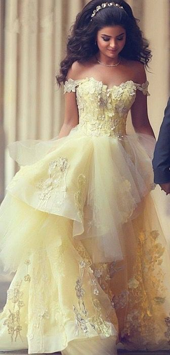 Gorgeous Yellow Gold Bridal Wedding Dress