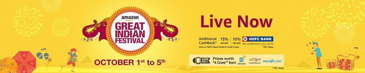 #AmazonGreatIndianFestival has started, celebrate this festive season with amazing #shopping #deals and #discounts on categories such as #Mobile #Phones, #Electronics, #Apparel, #Home and #Kitchen, #GiftCards and more. Shop using #HDFC #creditcards  or #debitcards and enjoy an additional 15% #cashback on the #Amazon App and 10% cashback. Visit http://amzn.to/2dxlUXf to avail these offers. Hurry!! these deals are valid from 1st to 5th #October, 2016.