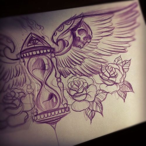 Live Life With No Regrets Tattoo Sketches Drawing Art: Chest Piece: (Time Flies. Live It Up) (time Waits For No
