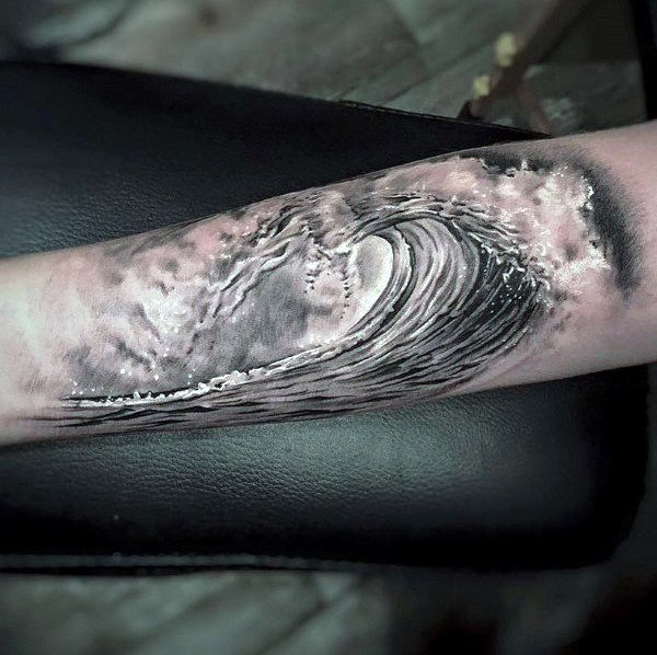 Black And White Ink Badass Shaded Mens Ocean Wave Forearm Tattoo