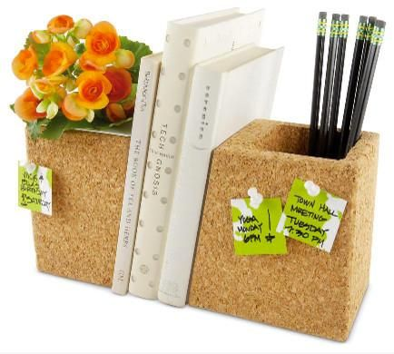 A super functional set of ends is neat: part corkboard, part writing utensil holder, and part plant holder, too, if you choose.
