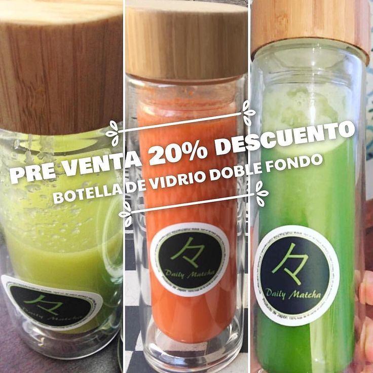Recuerda que hasta el 21 de Octubre puedes comprar nuestra #BotellaDeVidroDobleFondo de 400ml con un 20% de Descuento!!  Compras con envío a todo Chile en www.matchachile.com  #Matcha #MatchaChile #Botella #Jugos #Batidos #Té #Transporte #Comodo #Chile
