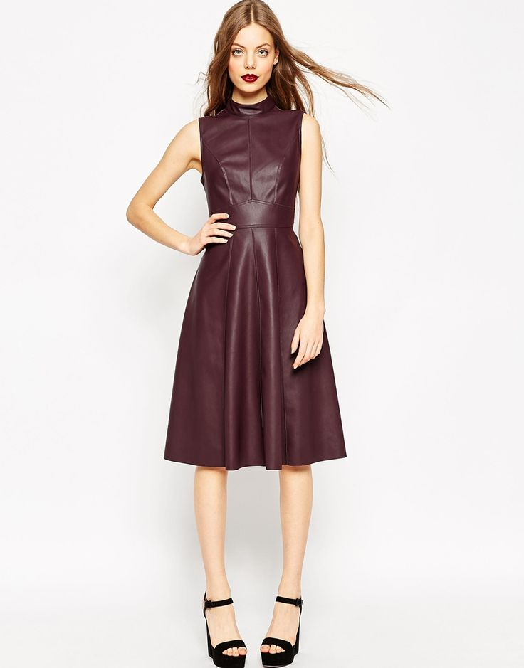 Image 1 ofASOS Midi Skater Dress in Leather Look with High Neck