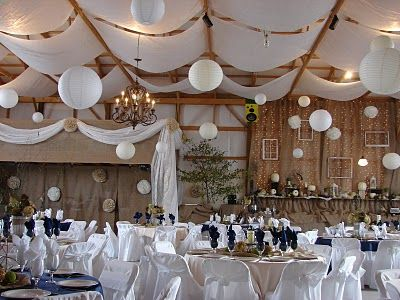 gorgeous reception in a barn