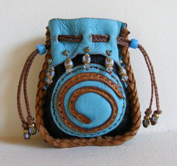 """tiny xs SPIRAL MEDICINE BAG Pocket Fetish Bag 2 3/4"""" X 3 1/4"""" crystal pouch"""