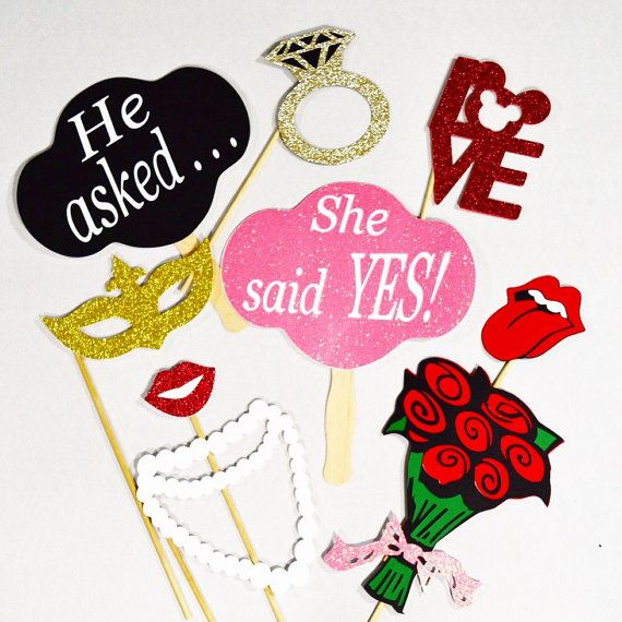 Engagement party props, photobooth props