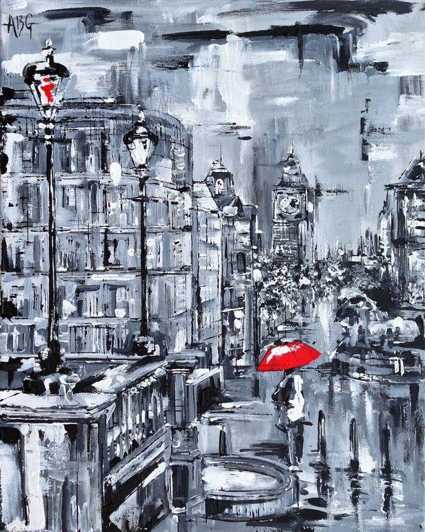 "Saatchi Art Artist: Anna Gammans; Acrylic 2013 Painting ""Red Umbrella in Trafalgar Square SOLD"""