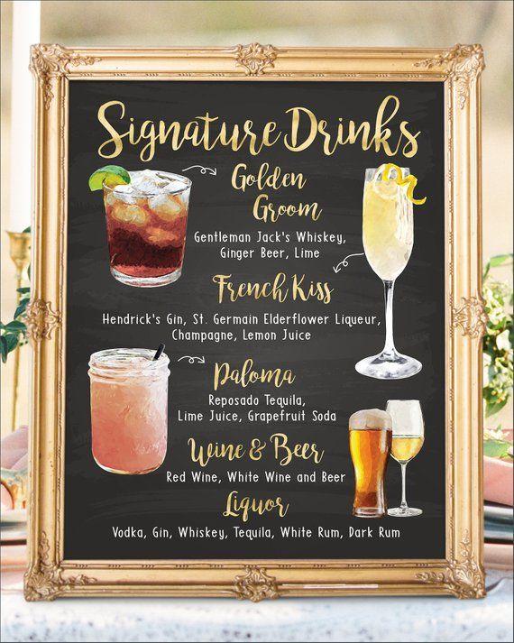 Printed Bar Menu Wedding Bar Sign Art Deco Printable Bar Menu Wedding Signature Drink Menu Cocktail Menu Custom Bar Menu Carlotta